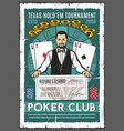 poker club retro poster of croupier and win check vector image vector image