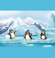 scene with three penguins on ice vector image