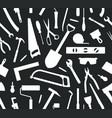 seamless pattern of tools silhouette vector image vector image