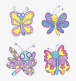 set beauty butterflies insects animals vector image