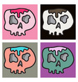 set of skull in a vintage retro hand drawn vector image vector image