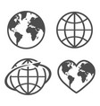 set with icon earth glove on a white background vector image vector image