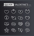 silver valentines day icons set vector image vector image