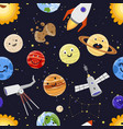 space planets solar system astrology seamless vector image