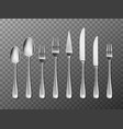 steel cutlery knife fork and spoon in realistic vector image