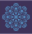 Stylized snowflake icon of blue color on violet