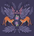 two cute hand drawn cheetahs stretching on dark vector image vector image
