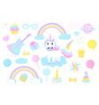 unicorn and clipart set rainbow crown cloud comet vector image vector image