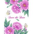 wedding card template with pink peony flowers vector image