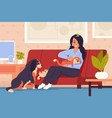 woman at home with pets cartoon girl character vector image