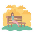 woman sitting in park chair avatar character vector image vector image