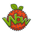 wow big shiny sign on abstract strawberry vector image vector image