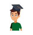 young graduates student in graduation cap vector image vector image