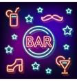 Neon symbol bar vector image