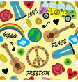 seamless bright background with accessories hippie vector image