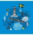 Cool emblem with swedish symbols vector image