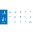15 glow icons vector image vector image