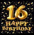 16th birthday celebration with gold balloons and vector image vector image