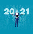 2021 artificial intelligence technology robot in vector image