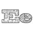 Anti coloring book alphabet the letter E vector image