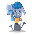 architect hammer character cartoon emoticon vector image