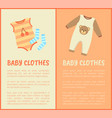 baby clothes striped suit and socks color card vector image