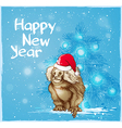 Background with monkey and fir vector image