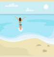 beach landscape girl in a swimsuit is in the sea vector image vector image