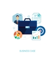 Busines suit case and presentation flat icons vector image