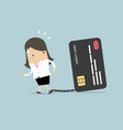 businesswoman with chained to bank credit card vector image vector image