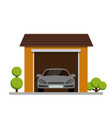 car garage with plant icon on white background vector image vector image