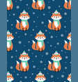christmas seamless pattern with fox vector image vector image
