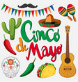cinco de mayo card template with mexican hat and vector image
