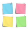 color sticky notes attached by metallic clips vector image vector image