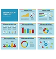 Colorful graphs and presentation graphics on blue vector image vector image