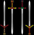 colour swords vector image vector image
