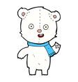 comic cartoon waving polar bear cub with scarf