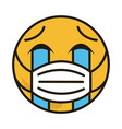 emoticon with medical mask coronavirus covid-19 vector image