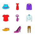 fashion icons set cartoon style vector image