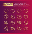 golden valentines day icons set vector image