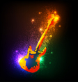 Grunge musical instruments on black Guitar vector image