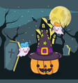 halloween ghosts cartoons vector image vector image