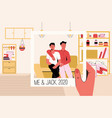hand holding photo frame with two happy friends vector image