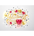 happy valentines day gold font composition with vector image vector image