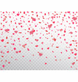 heart confetti falling on transparent background vector image vector image