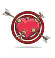heart target pierced arrows vector image