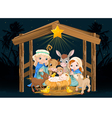 Holy Family at Christmas night vector image vector image