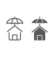 house protection line and glyph icon vector image