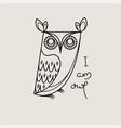 i am owl outline logo doodel isolated emblem