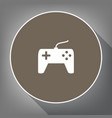 joystick simple sign white icon on brown vector image vector image